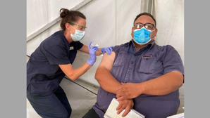 Port workers receive Covid-19 vaccines